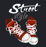Fototapety Sneakers graphic design. Hand drawn letters vector