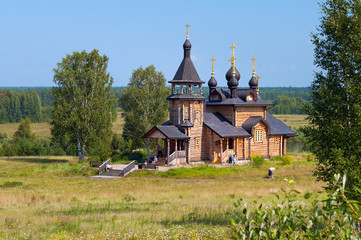 Wooden church of All Saints of Siberia on the Tura river.