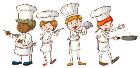 Simple sketches of chefs