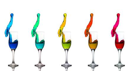 Champagne Glass Liquid Splashes Rainbow