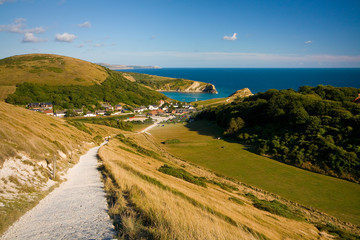 Famous Lulworth cove on Jurassic coast in Dorset, UK