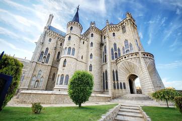 Famous landmark Astorga Epsiscopal Palace, Leon, Spain.