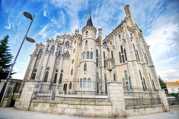 Famous landmark Astorga Epsiscopal Palace, Leon, Spain.