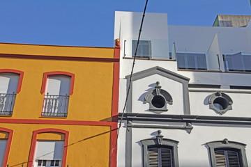Facades in Merida city, Badajoz province, Extremadura, Spain
