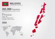 Maldives world map with a pixel diamond texture.