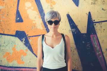 young beautiful short blue hair hipster woman