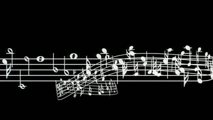 Stave music notes, scroll