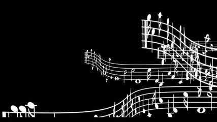 Stave music notes, snake motion, b&w