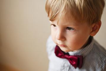 Cute solemn little boy wearing a bow tie
