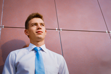Young Businessman Looking into the Distance