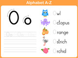 Fototapety Alphabet Tracing Worksheet: Writing A-Z