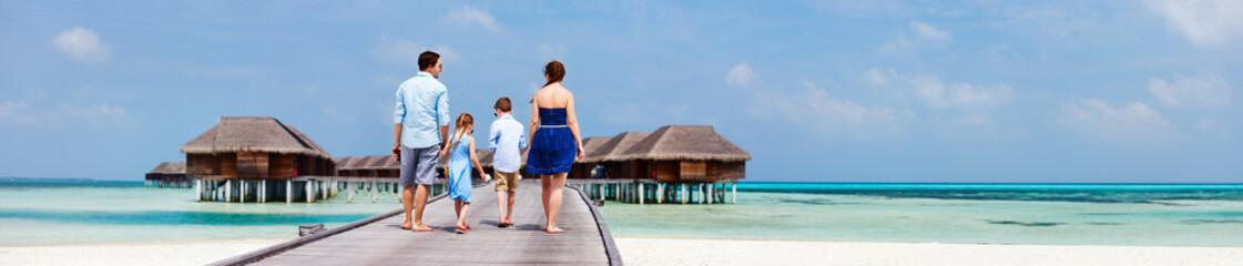 Family on luxury beach vacation