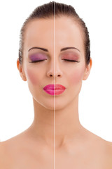 woman's face, beauty concept before and after contrast, power of
