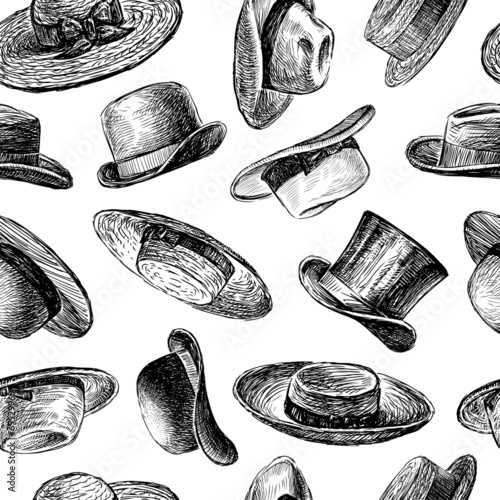 vintage hats pattern - 69529969