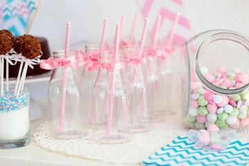 Candy jar and milk bottles