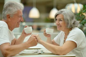 Beautiful elderly couple on date