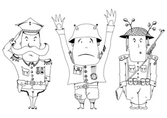 Comics soldiers of the First World War. Vector illustration.