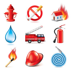 Fire fighting icons vector set