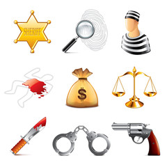 ?rime and law icons vector set