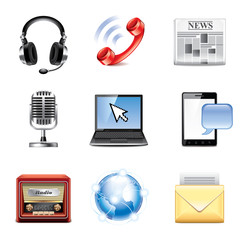 Media and communication icons vector set
