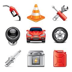 Car service icons photo-realistic vector set