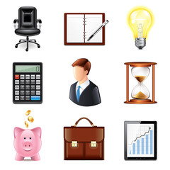 Business icons photo-realistic vector set