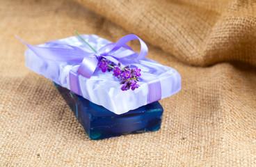 Natural handmade lavender soap on sackcloth
