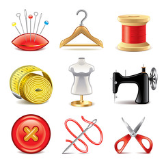Sewing equipment icons vector set