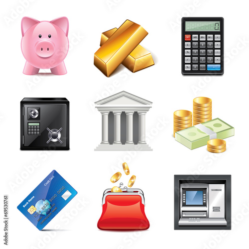 Banking icons photo-realistic vector set - 69530761
