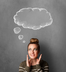 Thoughtful woman with cloud above her head