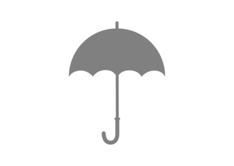 Grey umbrella icon on white background