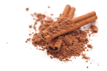 Cinnamon sticks and cocoa powder
