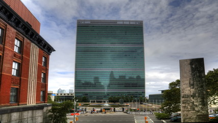 A timelapse view of the United Nations Building in New York