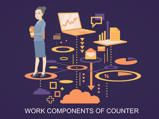 Vector illustration portrait of a woman counter keeps a folder w