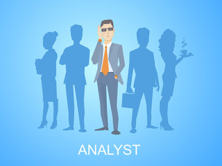 Vector illustration of a portrait of analyst man in a jacket han