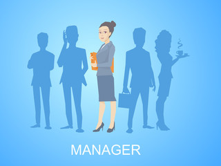 Vector illustration portrait of a woman manager keeps a folder w