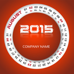2015 year calendar for business wall and card. August