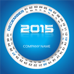 2015 year calendar for business wall and card. December