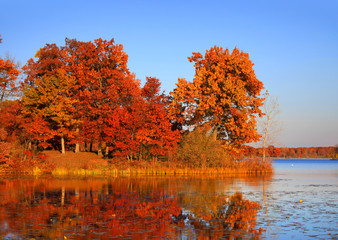 Autumn landscape in twilight