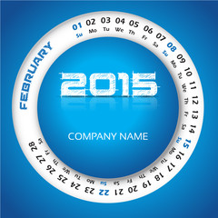 2015 year calendar for business wall and card. February