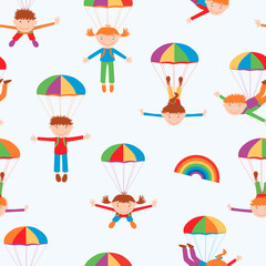 cheerful parachutists