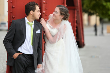 Young couple after wedding face to face