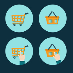 shopping cart flat icon with hand cursor