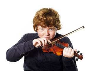 Big fat red-haired boy with small violin