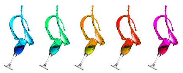 Champagne Glass Liquid Splashes Rainbow