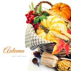 Seasonal basket with pumpkins and corn