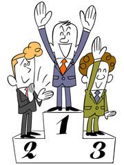 表彰台とビジネスマン