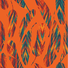 Vector seamless pattern. Bright abstract feathers.