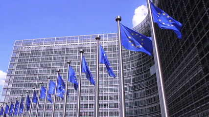 European Flags in front of the European Commission in Brussels.