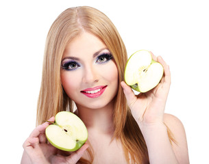Beautiful young woman with glamour make up and apple, isolated